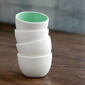 Stacking Thimble Cups Set 4 in Mint by PigeonToeCeramics on Etsy