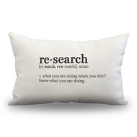 "Research Definition Pillow Cover - Off White Color - Zipper Enclosure -12""x18"""