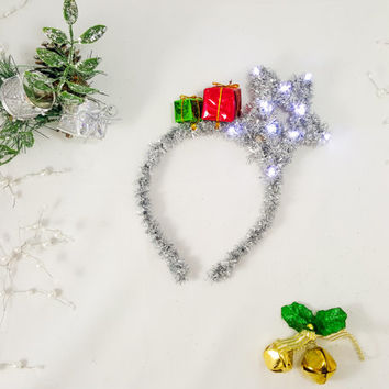 Silver Star Headband, Christmas Headband, X-mas Headband, Holiday LED headband, Star headband, Adult Headband, Christmas Costume