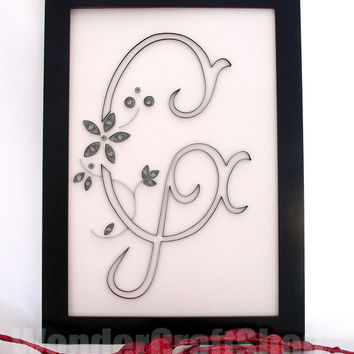 monogram G, personalized name art, baptism gift, nursery wall decoration, baby shower, baby name art, birthday with silver or golden flowers