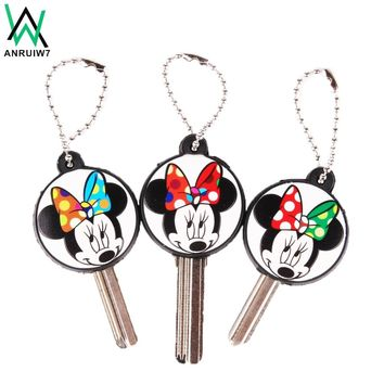 Cartoon Anime Cute Mickey Key Cover Cap Protect Silicone Minnie Keychain Women Owl Stitch Bear Hello Kitty Key Chain Porte Clef