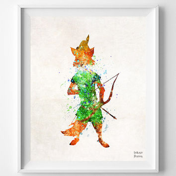 Robin Hood, Print, Watercolor, Illustrations, Children's Room, Disney, Poster, Wall Art, Gift, Home Decor, Nursery, Geek [NO 702]