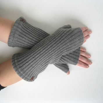 Wool Fingerless Gloves - Grey Ribbed Wool Texting Gloves Arm Warmers : Upcycled Recycled Repurposed Eco Friendly