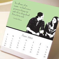 2014 Gilmore Girls Desktop Calendar - Fun Calendar with Lorelai, Rory, Sookie, Lane, Paris and Luke - CD Calendar Display Jewel Case