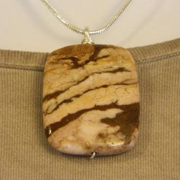 90ct. Brown and Tan Stone, Semi Precious, Agate, Pendant, Necklace, Rectangle, Natural Stone, 140-15