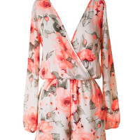 Floral Romper - Ivory and Neon Pink