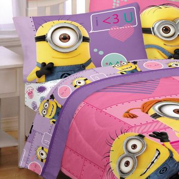 Despicable Me Minions Bed Sheet Set Pink Way 2 Cute Bedding Accessories