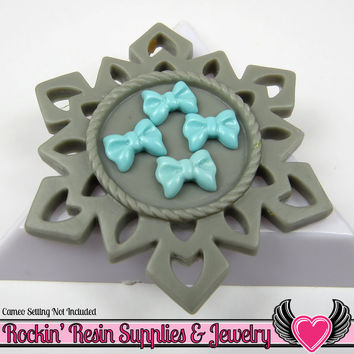 10 Pieces Tiny Little BOWS LIGHT BLUE Decoden Resin Cabochons 10x8mm
