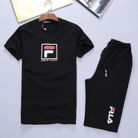 Boys & Men FILA Fashion Casual Shirt Top Tee Shorts Set Two-Piece