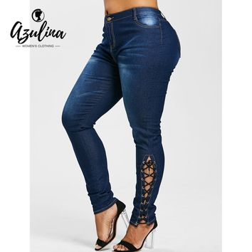 AZULINA Plus Size Zipper Fly Side Lace Up Jeans Skinny High Waist Pockets Denim Pant Women Jeans Trousers Big Size 5XL Clothing