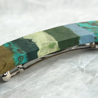 Jumbo Patchwork Hanji French Barrette Hair Pin Striped Patchwork Green Blue Grey Colors Sturdy Stainless Steel Barrette Handmade