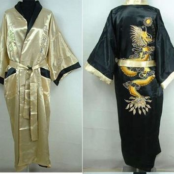 Yellow-Black Chinese Style Men's Double-Face Reversible Kimono Robe/Gown Embroidery Dragon Sleepwear