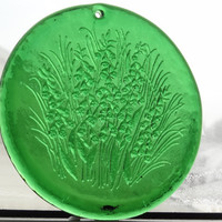Large sun catcher vintage green flower pressed glass