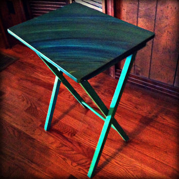 Hand Painted Wooden Folding TV Table, Green, Blue, Peacock, Streak Patterns