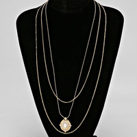 Layered Chain Of Wise Pendant Necklace WHITE