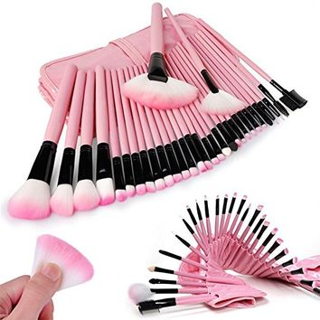 BeneU Cosmetic Makeup Brushes Eyebrow Concealer Brush Set Kit 32 PCS for Eye Shadow, Eyebrow, Blush, Concealer with Leather Pouch Bag Case(Pink)