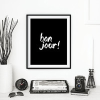 """Printable Art French Decor """"Bonjour"""" Handwriting Style Black & White Typography Print Hand Paint Home Wall Art Paris Decor Instant Download"""