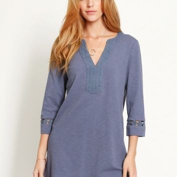 Blissful Blue Eyelet Shift Dress