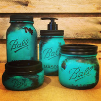 Mason Jar Bathroom Set, Rustic Turquoise Mason jars, Turquoise Mason Jar Desk Set, Mason Jar Office Decor, turquoise Mason Jar vanity set