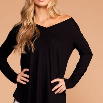 Missy Black Long Sleeve V-Neck Top