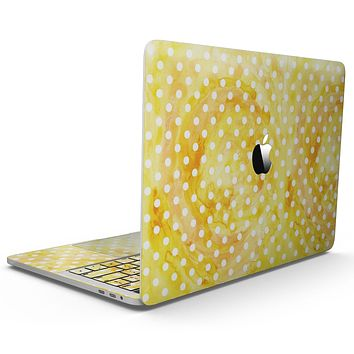 White Polka Dots over Yellow Watercolor - MacBook Pro with Touch Bar Skin Kit