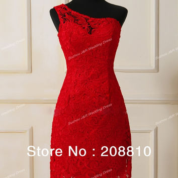 Real Sample Sexy Sheath One Shoulder Red Lace Knee Length Bridesmaid Dresses Free Shipping