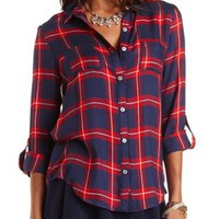 Flyaway Plaid Button-Up Tunic Top by Charlotte Russe - Blue Combo