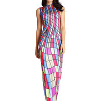 Fashion Mock Neck Sleeveless Striped Maxi Dress - NOVASHE.com