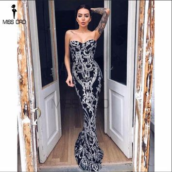 Missord 2017 Sexy New Bra Off Shoulder Retro Geometry Sequin Female  Dresses  Floor Length Party Elegant  Dress FT8888