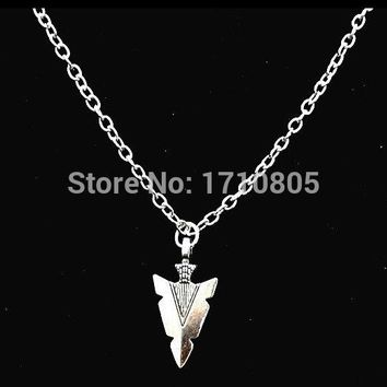 Hot Antique Silver Arrowhead Charm Amulet Pendant Necklace Accessories Fashion Women Jewelry Friendship Unique Gifts 10PCS Z631