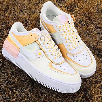 NIKE Air force AF1 macaron cream embroidery, laser vents on the upper, chrysanthemum pendant beige