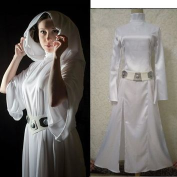 2017 New Star Wars Costume Princess Leia Cosplay Costume Made girls clothes female Summer fall Dress with belt women Uniform