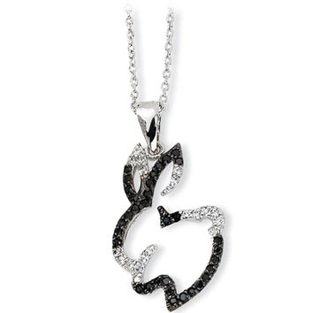 Sterling Silver Cubic Zirconia Bunny Necklace by Cheryl M