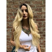 Blonde Ombre' Hair Side Part Bangs Wig 24"