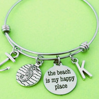 The beach is my happy place, Personalized, Letter, Initial, Nautical, Marine, Anchor, Sea horse, Bangle, Bracelet, Gift, Jewelry