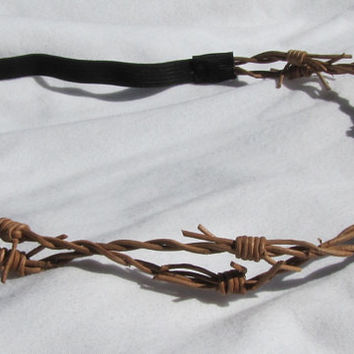 Leather Barbed Wire Barb Wire Crown Elastic Boho Headband