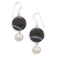 Banded Black Onyx and White Cultured Freshwater Pearl French Wire Earrings