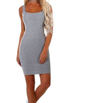 South Bay Grey Sleeveless Jersey Mini Dress