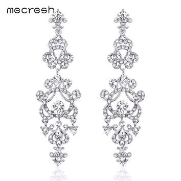 Minmin Clear / Gold Color Crystal Chandelier Long Earrings for Women Bridal Wedding Jewelry Pendantes Femmes EH283