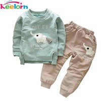 Keelorn Baby Boy Clothing Set 2017 New Autumn Fashion Style Long Sleeve Elephant Print T-Shirt+Pant 2pcs Kids Clothes