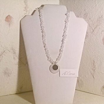 "Necklace For Everyone: Genuine Clear Quartz And 925 Sterling Silver ""Health"" Reversible"