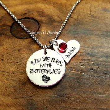 Hand Stamped Now She Flies With Butterflies Personalized Necklace, Butterfly Memorial Necklace, In Memory of Necklace, Sympathy Gift For Her
