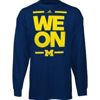 adidas Men's Michigan Wolverines 'We On' Navy Long Sleeve Shirt