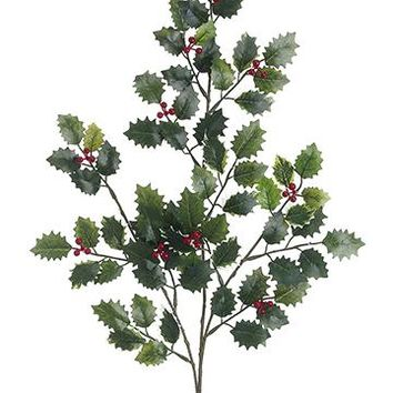 "Variegated Fake Mini Holly Leaf & Red Berry Spray - 32"" Tall"