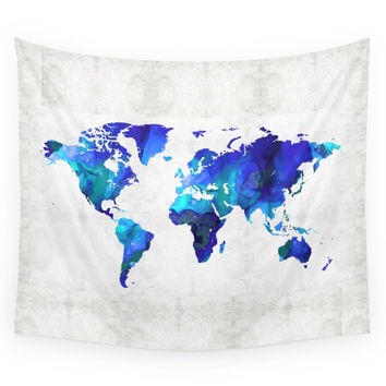 Society6 World Map 17 Blue Art By Sharon Cummings Wall Tapestry