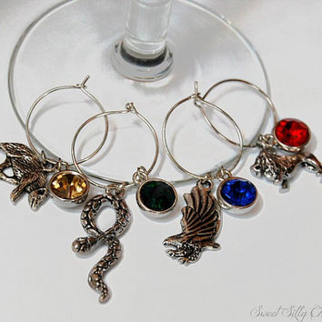 Harry Potter Hogwarts House Wine Glass Charms Set of Four, Hufflepuff Slytherin Gryffindor Ravenclaw Wine Glass Charms, Harry Potter Gift