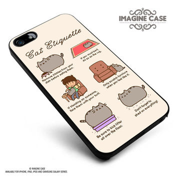 Pusheen cat cat etiquette case cover for iphone, ipod, ipad and galaxy series