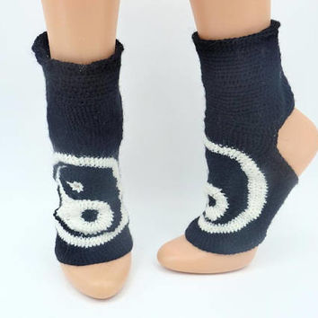 Crochet yoga socks yin yang gift gym socks gift for active women girlfriend gift