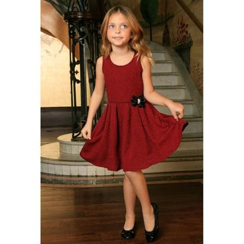 Ruby Red Floral Sleeveless Skater Cute Princess Party Dress - Girls