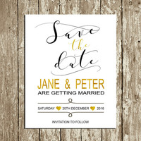 Save the Date printable Elegant Gold and black Save the date postcard Digital Stylish Save the date card Custom Save the date Sign DOWNLOAD